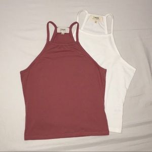 Tilly's Qeon High Neck Halter Crop Tops 2 pack